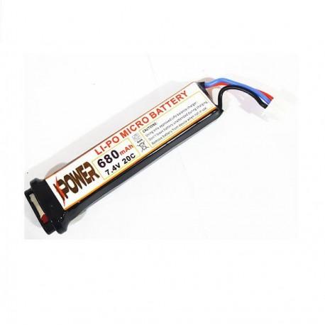 BATERIA LIPO IPower 7.4v 680mah 20c P. ELECTRICA