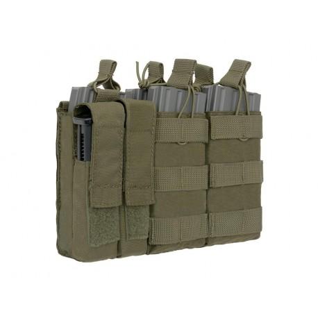 POUCH M4/M16 TRIPLE Y PISTOLA (5 MAS 2) VERDE