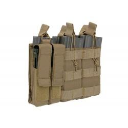 POUCH M4/M16 TRIPLE Y PISTOLA (5 MAS 2) TAN