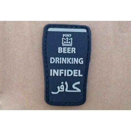 PARCHE 3D -BEER DRINK INFIDEL- NEGRO